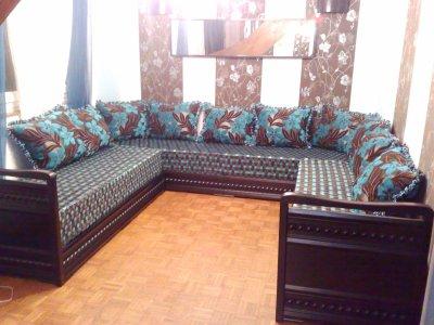 Salon Italien Couleur Wenge Avec Tissu Marron Turquoise Salons Marocains76