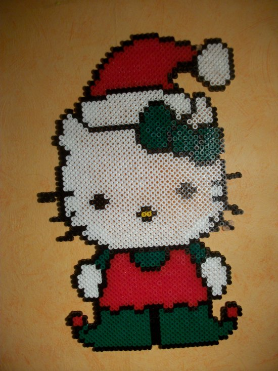 hello kitty no�l 2 en perles hama