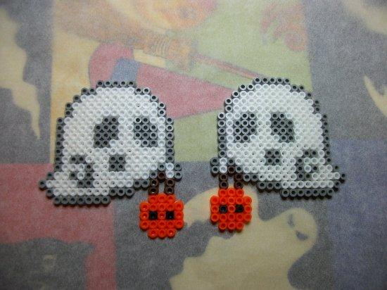 citrouille + fant�me en perle hama pour Halloween