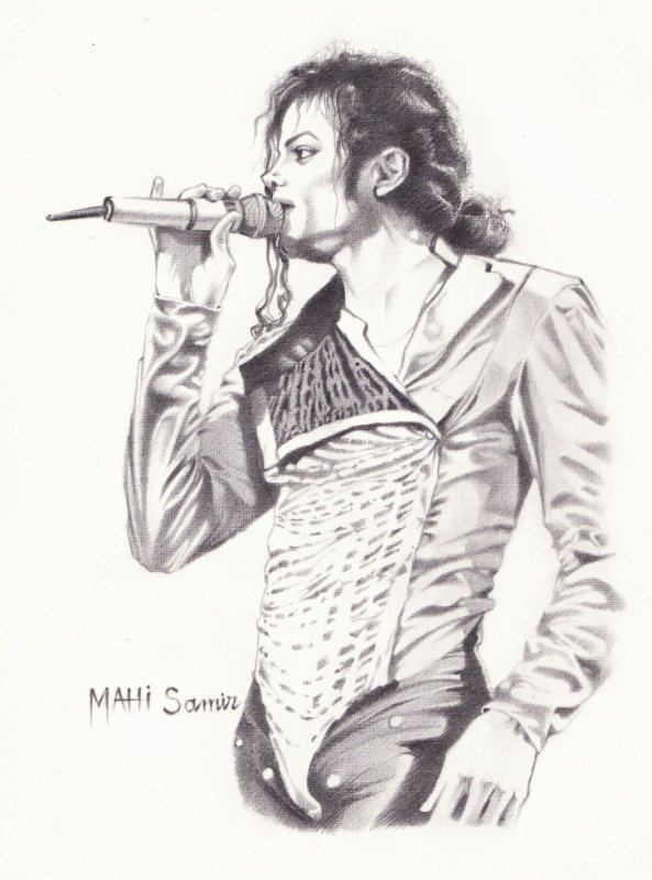 Portrait de michael jackson dessin au crayon wahran - Dessin de michael jackson ...