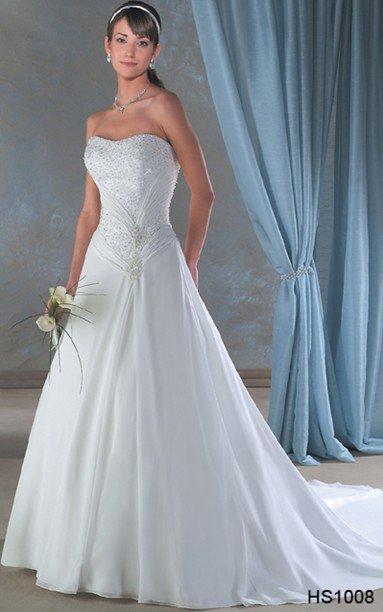 Robe de mariée sans bretelles avec traîne - les caftans laladache