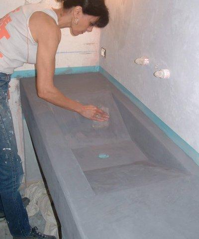Realisation d un vasque beton cire frejus for Vasque en beton cire