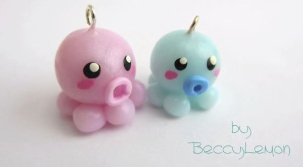 Tuto kawaii 3 des petits poulpes en fimo so kawaii - Idee pate fimo simple ...