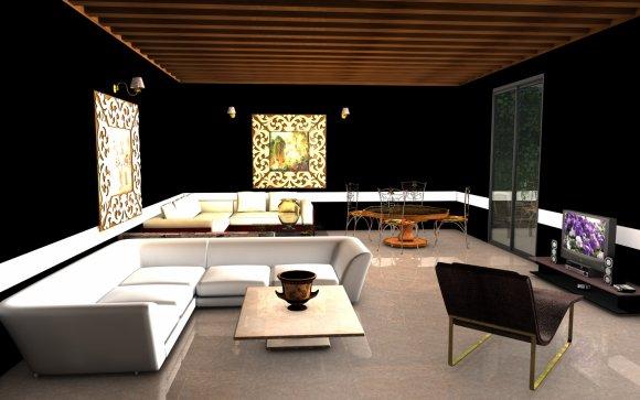 Le salon noir art confort for Chambre mur rouge et noir