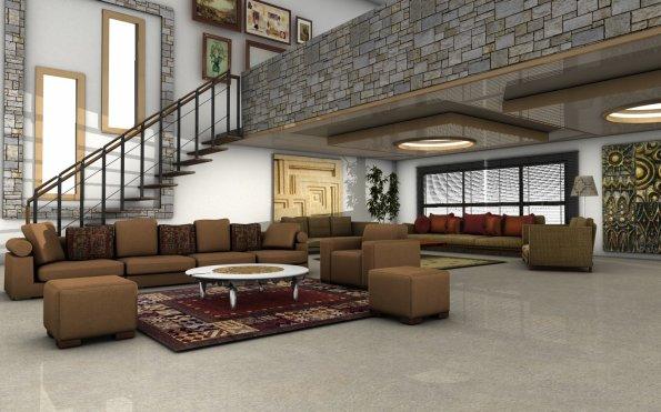 salon avec mezzanine art confort. Black Bedroom Furniture Sets. Home Design Ideas