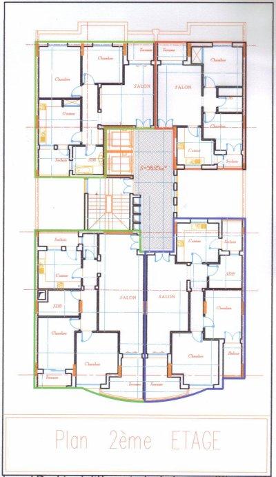 Plan Etage: S+2: Chambre a coucher -Chambre damis -Salon ...