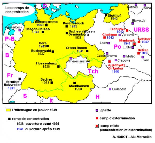 Carte Des Camps De Concentration Amp Camps D Extermination