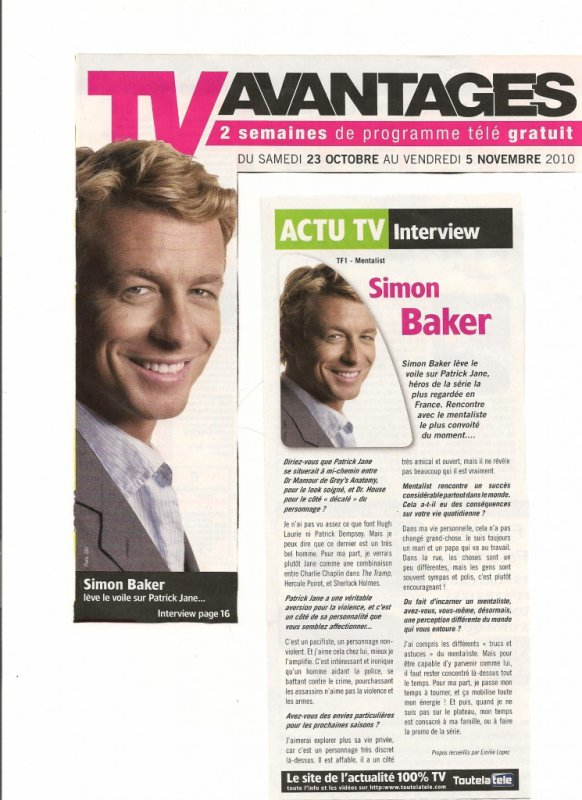 interview sur simon baker dans tv avantages ta source sur le beau simon baker. Black Bedroom Furniture Sets. Home Design Ideas