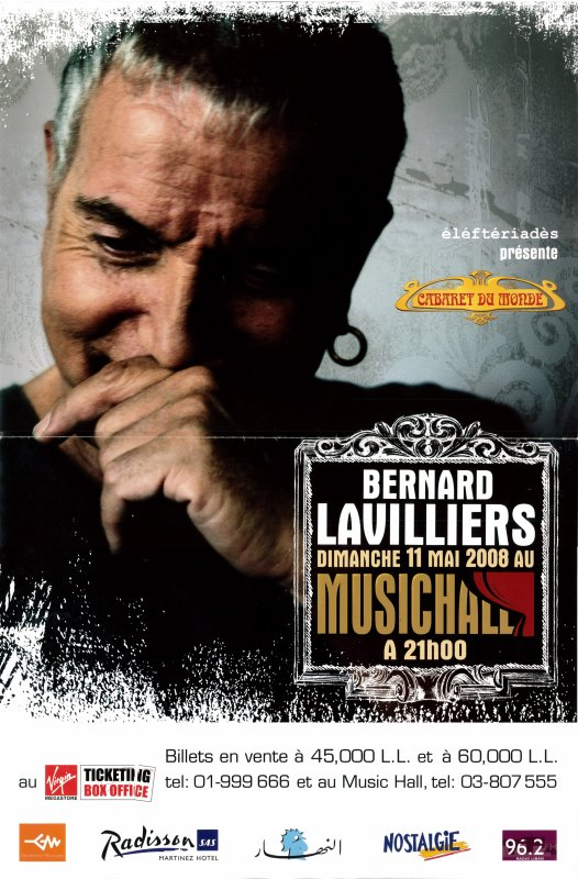 Lavilliers - photo de l'affiche et vid�o de Samedi soir � Beyrouth concert de Beyrouth. 11 mai 2008