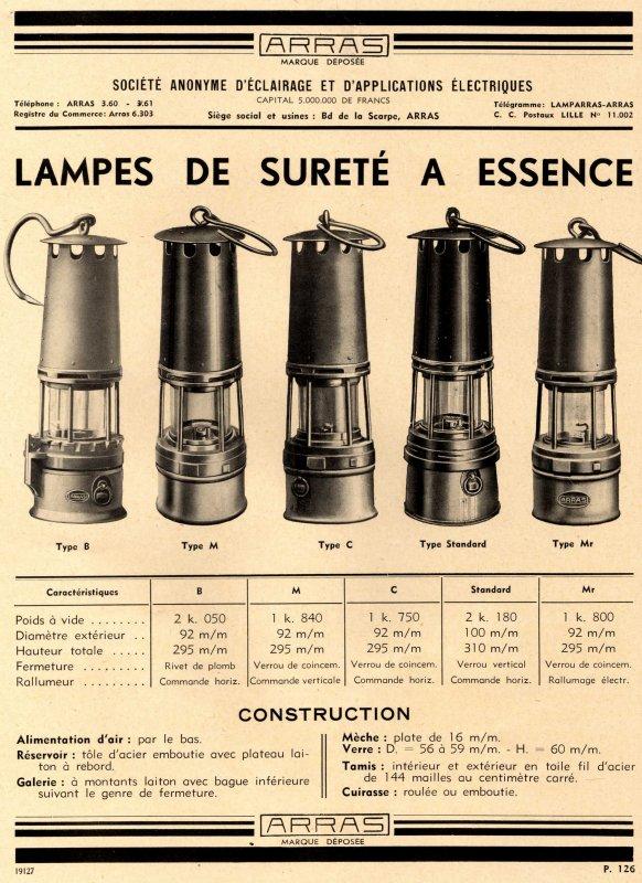 encarts publicitaires des lampes arras 1 2 toute une passion de notre patrimoine minier. Black Bedroom Furniture Sets. Home Design Ideas