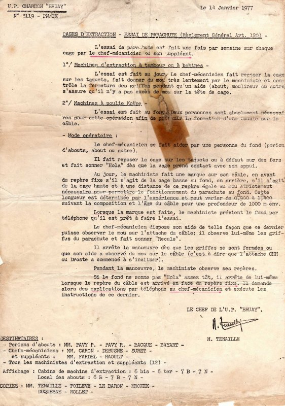 Anciens documents de l' UP 6 d' Haillicourt ( groupe Auchel / Bruay )