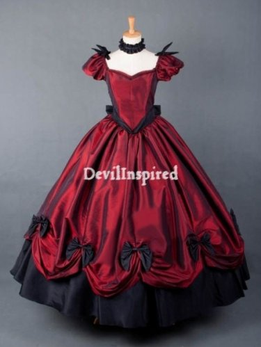 Gothic Victorian dresses in the red color are popular among