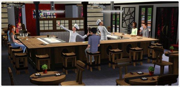 Les sims 3 store salle manger d 39 inspiration japonaise for Salle a manger japonaise
