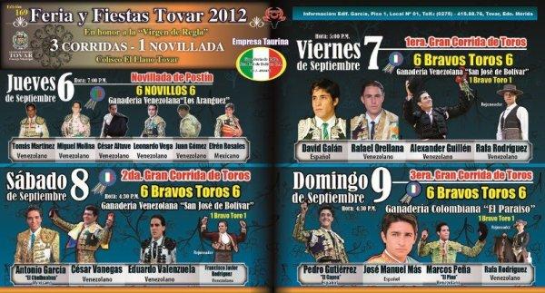 Empresa Taurina Ganader�a de Lidia San Jos� de Bol�var presenta carteles de la feria de Tovar 2012 visita nuestra pagina web www.ganaderiasanjosedebolivar.com.ve haciendo click en la imagen siguiente...