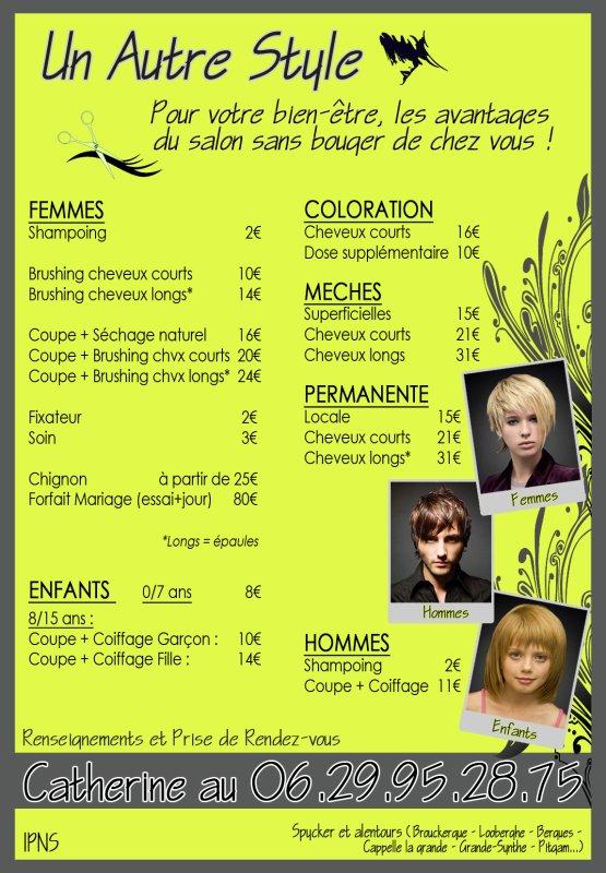 Un autre style coiffure domicile l 39 ebook de mes for Salon de coiffure tarif