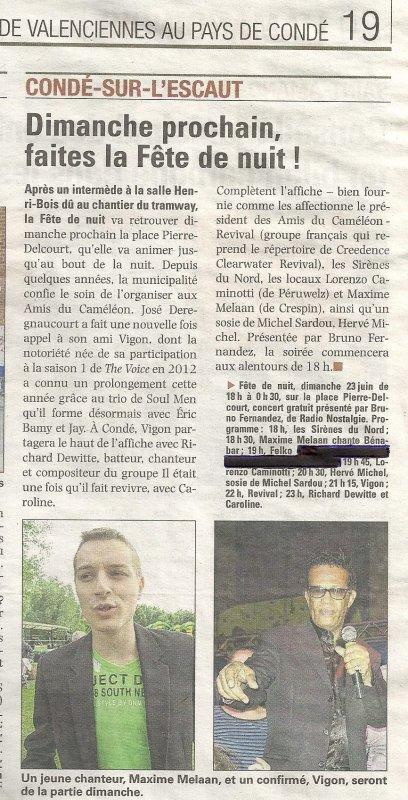 Article paru dans la Voix du Nord du jeudi 20 Juin 2013 pour La F�te de nuit � Cond� Sur Escaut le 23 Juin � partir de 18h