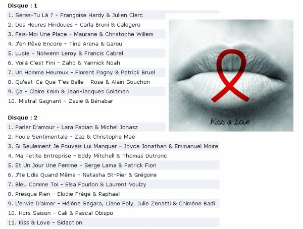 ECOUTEZ #KissAndLove l'album Ev�nement #Sidaction 20 ans on en parle - by @ObispoPascal - @Paradispop