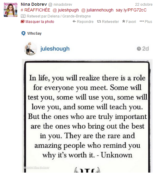 nina a twitter le 22 octobre 2013