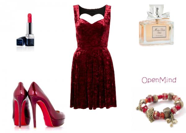 tenue 025 soir e robe velours rouge talons. Black Bedroom Furniture Sets. Home Design Ideas
