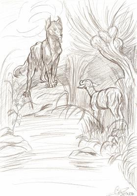 Le loup et l 39 agneau mes dessins ce que je ressents - Dessin loup et agneau ...