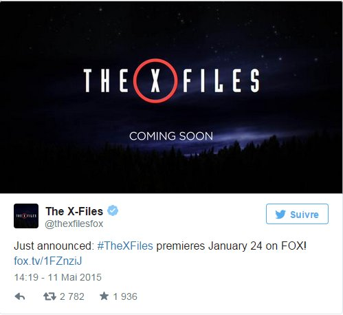 FOX annonce la date du retour de la s�rie X-Files
