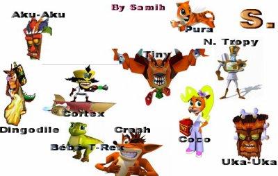 personnages de crash bandicoot