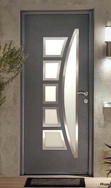 Notre porte d 39 entr e alu mais couleur ardoise ral 7016 comme la porte de garage construction for Porte entree vitree alu