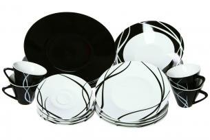 Service 20 pieces noir et blanc decodesign07 for Service de table noir