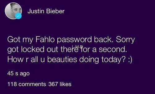 Photos de Justin (suite) + Photos et vid�os post�es sur Fahlo