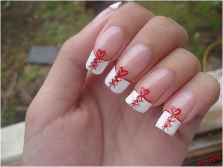 Mes nail art mariage suite mon univers nail art sur ongles naturels - Ongle rouge et blanc ...