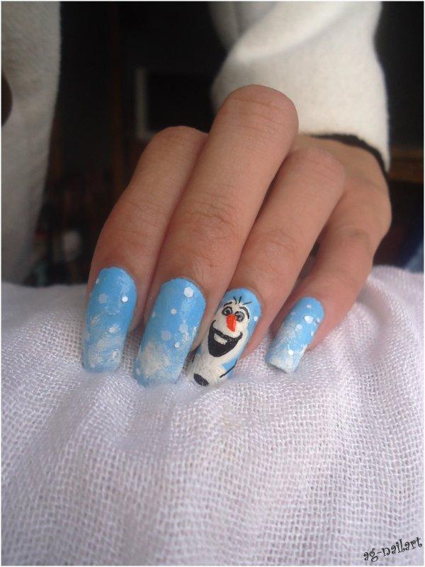 nail art disney olaf mon univers nail art sur ongles naturels. Black Bedroom Furniture Sets. Home Design Ideas