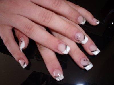 blanche avec d 233 co liner noir sting noir strass argent 233 de x ongles x sharlene x