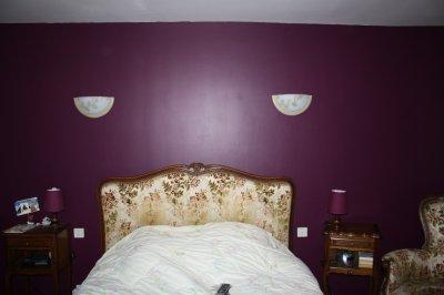 Mur en satinelle aubergine et gris de su de la - Chambre aubergine et gris ...