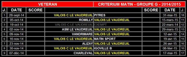 3595 - Calendrier VALOIS C V�t�rans - Saison 2014/2015