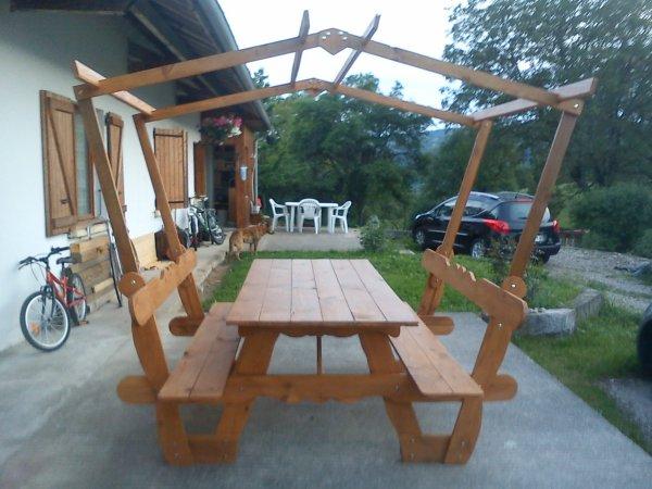 Fabrication d 39 une table de pique nique avec tonnelle - Plan pour fabriquer table forestiere ...