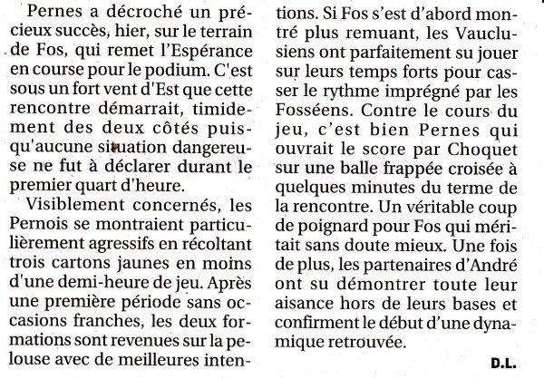 "FOS  -  PERNES  :  0-1  VUE PAR ""LA PROVENCE"""