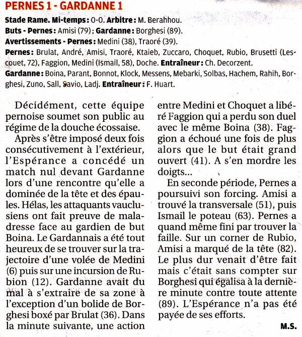 """LA RENCONTRE PERNES-GARDANNE VUE PAR """"LA PROVENCE"""""""