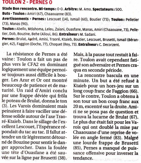 """LA RENCONTRE SENIOR DH  :  TOULON-PERNES  :  2-0  VUE PAR """"LA PROVENCE"""""""