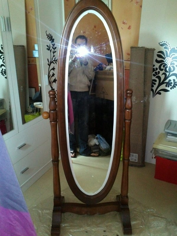 Custom miroir sur pieds ovale du neuf avec du vieux l for Miroir en pied