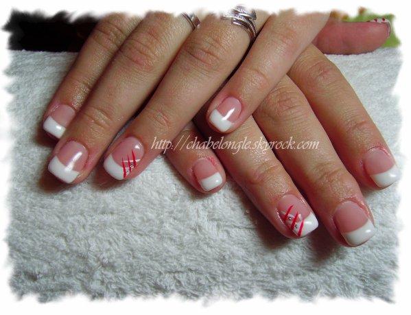 ongles en gel blanc et rouge