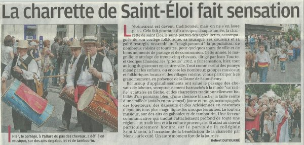 Article Journal La Provence du 28 mai 2012