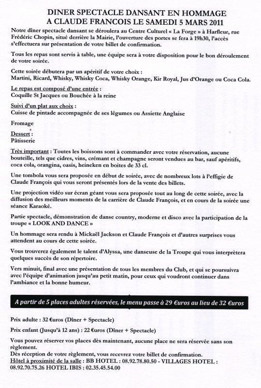 """163 - DINER SPECTACLE LE SAMEDI 5 MARS 2011 A HARFLEUR AVEC LA PARTICIPATION DE LA TROUPE """" LOOK AND DANCE """""""