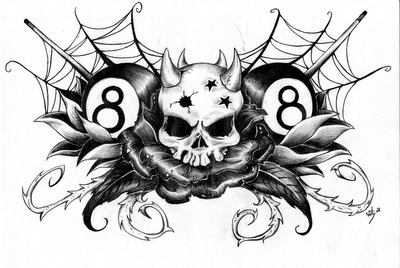 Dessin crane boule de billard fleur blog de cliker42 - Tete de mort avec fleur ...