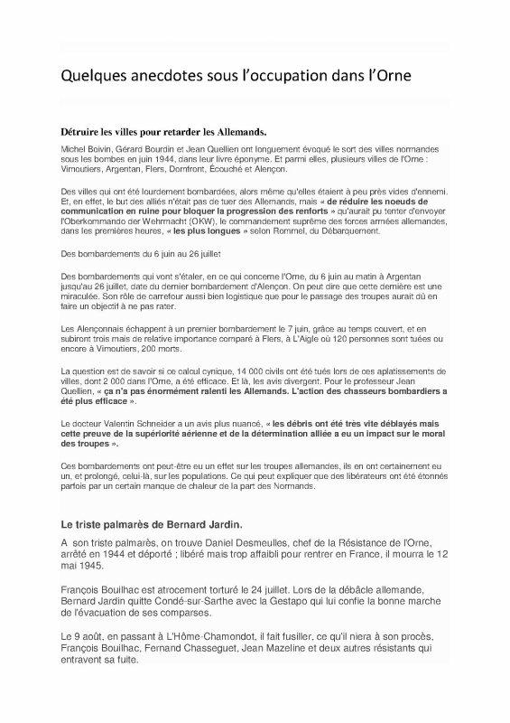 Quelques anecdotes sur l'Orne (suite et FIN)