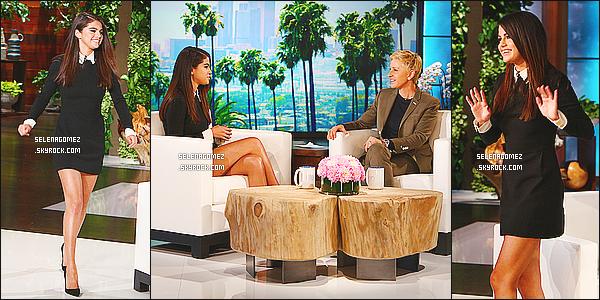 12/10/14 : Selena �tait invit�e sur le plateau de l'�mission � The Ellen DeGeneres Show � � - Los Angeles. Dans cette �mission, elle nous parle de sa nouvelle vie et ses projets. Selena appara�t vraiment souriante avec une tenue magnifique.