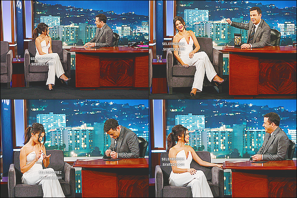 15/10/14 : Selena G. a �t� photographi�e  se rendant sur le plateau du �  Jimmy Kimmel Live �  � - Los Angeles. La belle encha�ne les �missions et les projets professionnels avec un emploi du temps qui s'annonce charg�. C'est un top pour la tenue.