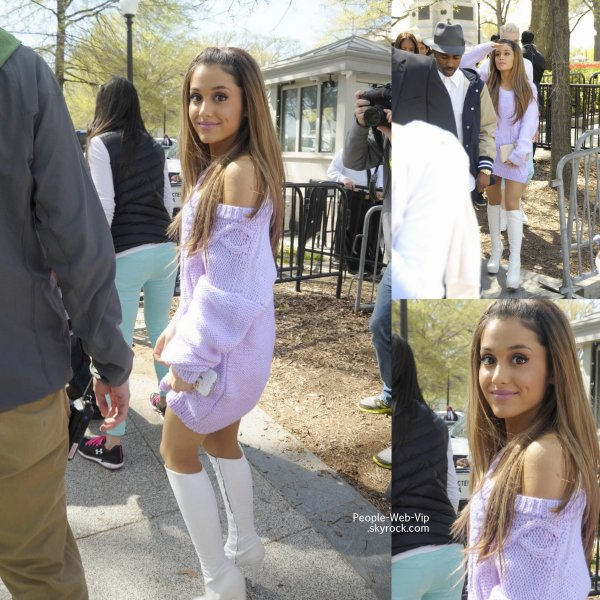 "Ariana Grande � son arriv�e � la Maison Blanche, pour la traditionnelle journ�e ""White House Easter Egg Roll""  (lundi matin (21 Avril ) � Washington , DC)"