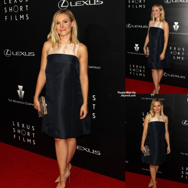 "Kristen Bell pose sur ​​le tapis rouge lors de l'�v�nement ""Lexus Short Films""  tenue au Regal Cinemas LA Live  (mercredi (30 Juillet) � Los Angeles.)"