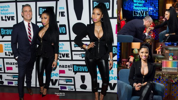 Nicki Minaj pose avec Elvis Duran en visitant The Elvis Duran Z100 Morning Show au Z100 Studios  (mercredi (17 D�cembre) � New York City.)