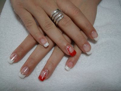 Pose french et rouge excepti 39 ongles - Ongle rouge et blanc ...